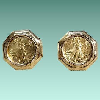 22kt US 1993 $5 Gold Coin Earrings
