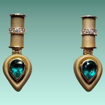 18k Yellow Gold Emerald and Diamond Earrings