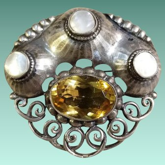 Theodor Fahrner, 800 Silver Brooch with Citrine and Mother of Pearl