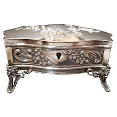 Antique French Sterling Silver Trinket Box, c. 1880