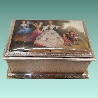 Austrian 835 Silver Box w/ Enamel Top, c.1870