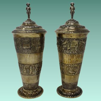 Pair of Cups & Covers, Gilt Silver, Dutch c.1870, in the 17th Century Style