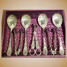 Silverplate Sheffield Hand Engraved Fruit & Nut Set
