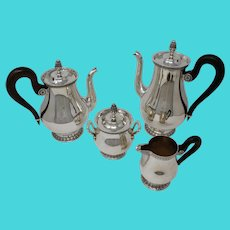 Christofle, Silver Plate 4 pc. Tea Set, Malmaison-Beauharnais Pattern