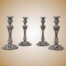 Set of 4, Sheffield, Sterling Silver Candlesticks, ca.1821