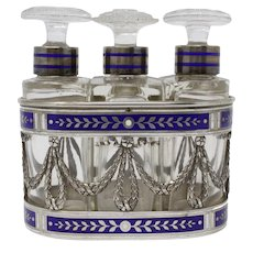 3 Bottle Scent Set, Vienna, 950 Silver & Crystal, 1866-72