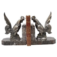 Art Deco, France, Silvered Metal Rooster Bookends w/ Marble Bases, c.1920