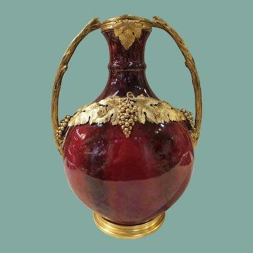 """Antique Flambé Red """"flambés de Chine""""  Vase, """"Paul Milet"""", Sevres c.1890"""