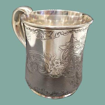 Antique Gorham Sterling Silver Hand Engraved Mug, c. 1863-90s