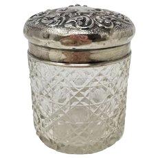 Sterling and Cut Crystal Vanity Jar, Birmingham, c.1907