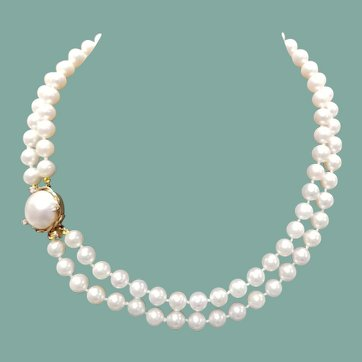 Vintage Two Strand Cultured Pearl Necklace w/ 14K, Mabe Pearl & Diamond Clasp
