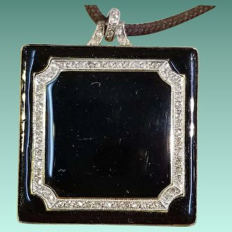 Black Enamel & Rose Cut Diamond Pendant, c.1900