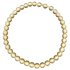 Tiffany & Co. 18K Yellow Gold Florentine Bead Necklace