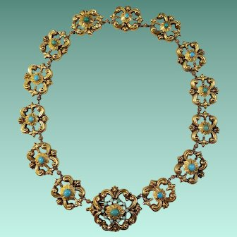 Georgian, 18kt Yellog Gold and Turquoise Necklace, c. 1800