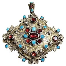 Austro-Hungarian Pendant with Garnets and Turquoise