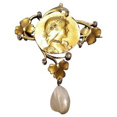 Art Nouveau Yellow Gold, Diamond, and Pearl Drop Pin