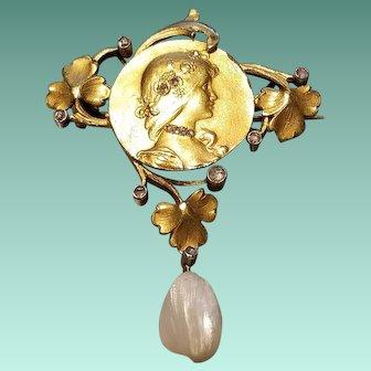 Art Nouveau Yellow Gold, Diamond, and Pearl Drop Pin