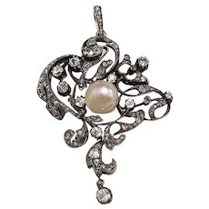 Antique Silver Topped Gold Pendant w/ Diamonds and Natural Pearl ca.1870