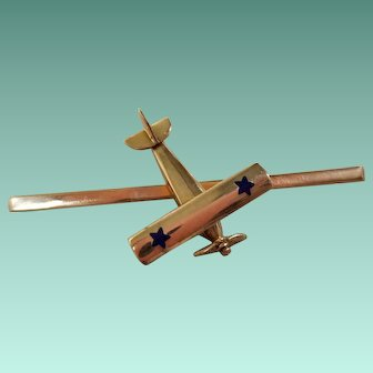 14K Yellow Gold and Enamel Airplane Brooch, c.1950
