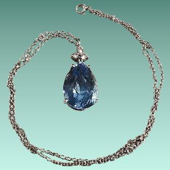 18K White Gold Aquamarine and Diamond Pendant