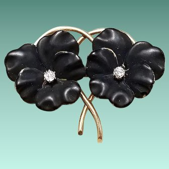 14kt Gold Brooch with Black Enamel Pansies and Diamonds, c.1900