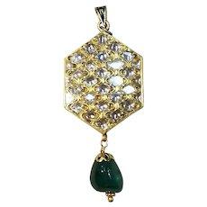 Mughal/Mogul Style 22kt Yellow Gold, Emerald, and Diamond Pendant