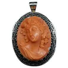 Early 20th c. Grecian Mediterranean Coral Cameo Brooch/Pin