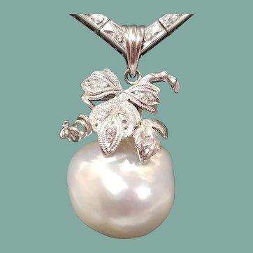 Platinum Diamond & Baroque Pearl Pendant