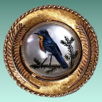 14kt Yellow Gold with Blue Bird Essex Crystal Brooch, c.1900