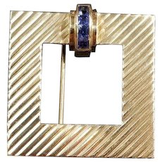 Tiffany & Co. 14k Yellow Gold and Calibre Cut Blue Sapphire Pin/Brooch