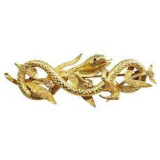14kt Yellow Gold Coiled Serpent Brooch with Diamonds & Rubies, c.1860