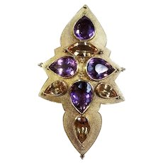 18kt Yellow Gold Pin/Pendant with Imperial Topaz and Amethyst