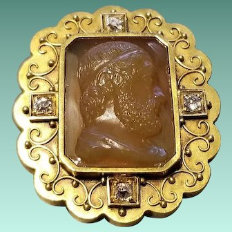 14K Yellow Gold, Diamonds, and Carved Agate Pendant, c.1870