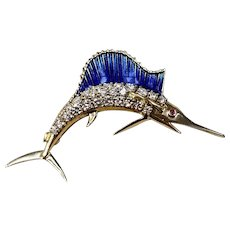 18k Yellow Gold, Diamond, and Blue Enamel Marlin Pin