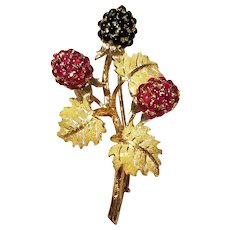 Buccellati 18k Yellow Gold, Ruby & Onyx Berry Brooch