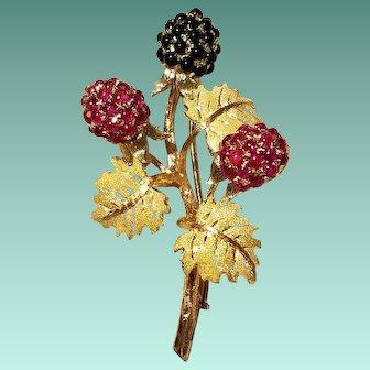 Buccellati 18k Yellow Gold, Ruby & Onyx Berry Brooch