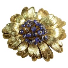 Tiffany & Co. Italy, 18k Yellow Gold Sapphire and Diamond Floral Brooch