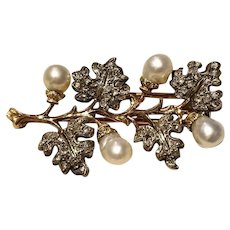 Buccellati Sterling Silver & 18k Yellow Gold, Diamond & Natural Pearl Brooch/Pin