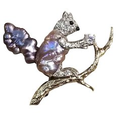 Signed Ruser Baroque Pearl, 18kt, & Platinum Squirrel Brooch