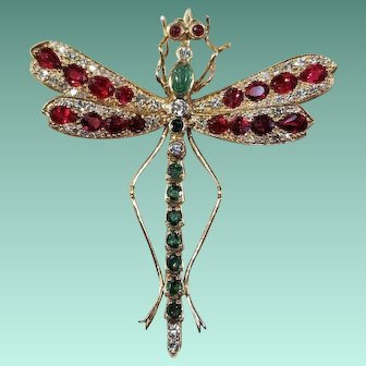 14k Yellow Gold, Diamond, Ruby, & Emerald Dragonfly Brooch