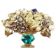 18k Yellow Gold, Emerald, Sapphire, & Pearl Floral Brooch