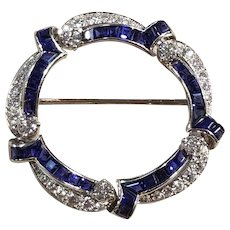 Platinum Circle Brooch with Diamonds and Sapphires