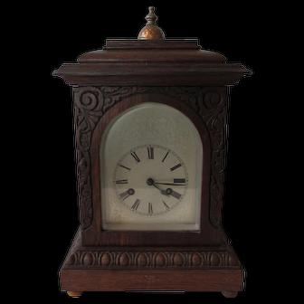 Antique 1890 Junghans Bracket Clock, Beautiful Carved Oak Case, Excellent