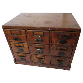 Antique Globe 9 Drawer Index Card File Cabinet, patent date 1897