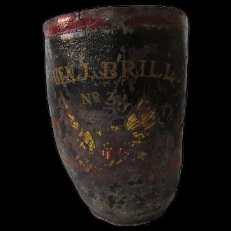 Original Antique Leather Fire Bucket, 19th Century, Ben J. Brill No. 3