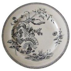 "1884 Antique English Black Transferware 9.5"" Plate, Bird, Bee, Berries, Tennyson"