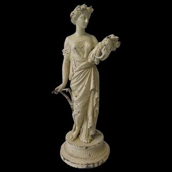Antique Spelter Statue, Demeter Greek Goddess of the Harvest, Fertility & Sacred Law