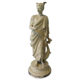 Antique Spelter Statue, the Greek God, Hermes and the Roman God, Mercury