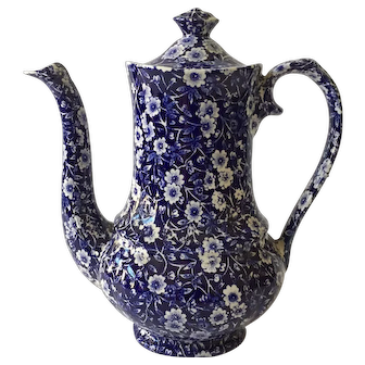 Vintage Calico Blue Coffee Pot with Lid, Crownford, Staffordshire, England