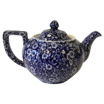 Vintage Calico Blue Teapot with Lid, Crownford China Co. Inc.  Staffordshire, England